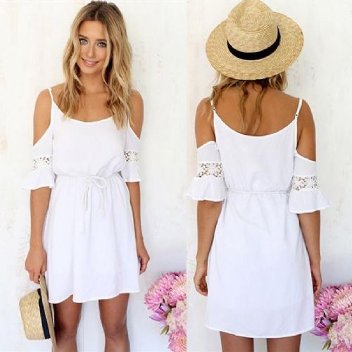 Women Sexy Off Shoulder Lace Hollow Out Chiffon Dress With Belt Beach Dress